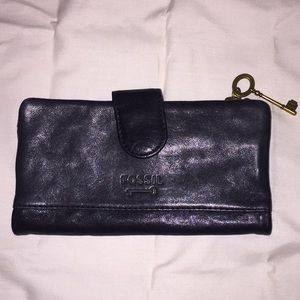 FOSSIL Genuine Leather Black Wallet w/ Key